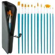 12pc Long Handle Nylon Hair Artist Oil Paint Brush Set Blue Handle w/ Carry Case