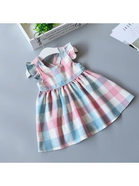 bbeb22453a44 Product Image Toddler Kids Baby Girls Sleeveless Dress Summer Plaid  Sundress Party Dresses 2-7Years