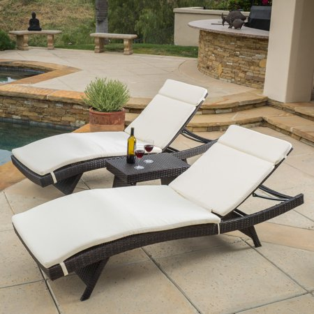 Halulu Wicker 3 Piece Chaise Lounge Set with - Chaise Lounge Seat Cushion
