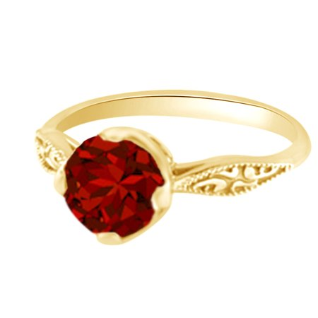 (1.3 cttw) Round Cut Simulated Red Garnet Vintage Antique Style Engagement Wedding In 14k Yellow Gold With Ring Size 4