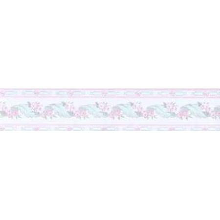 Small Pink Floral Print Textured Wallpaper Border Walmart Com