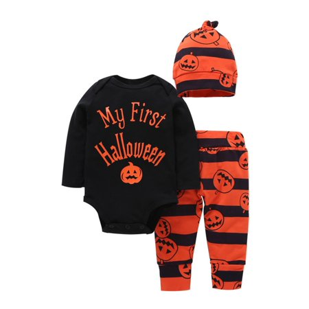 Baby Boys Girls Halloween Pumpkin Long Sleeve Romper Pants Hat 3Pcs Outfits Set,70