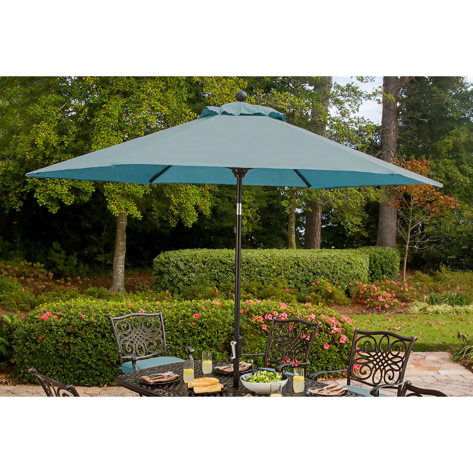 Hanover Outdoor Table Umbrella for the Traditions Dining Collection, Ocean Blue
