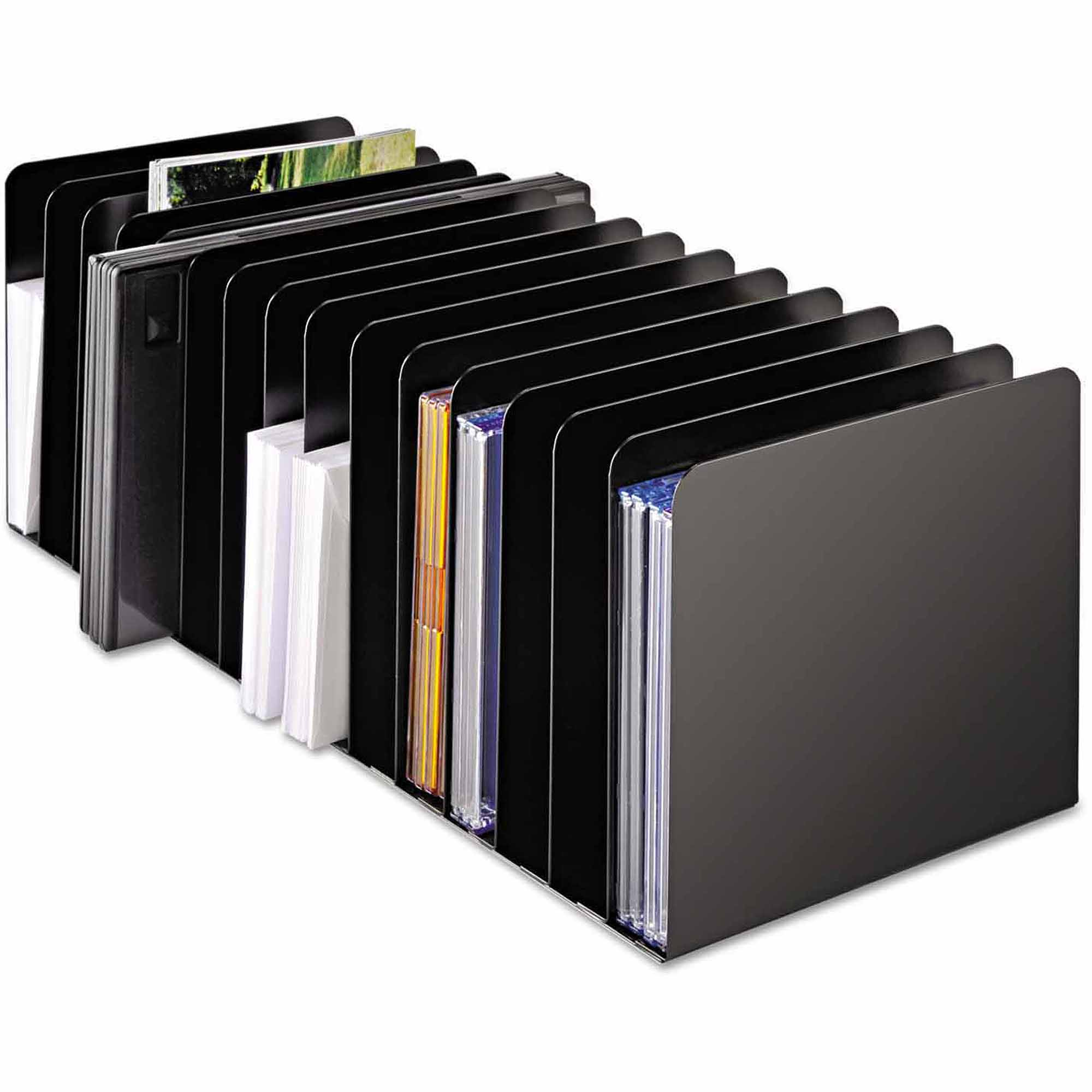 "SteelMaster Message Rack, 15 Compartments, Steel, 6.25"" x 16-1/10"" x 6.5"", Black"
