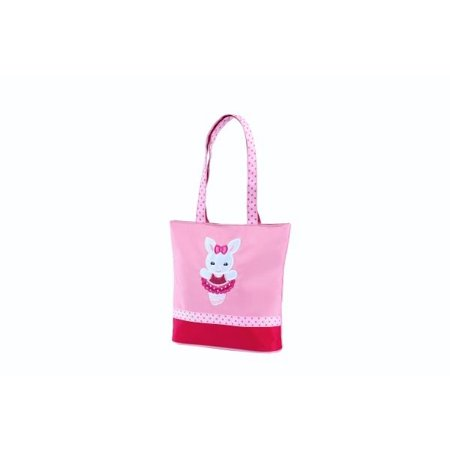 Sassi Designs Ballerina Bunny small tote with grosgrain ribbon trim and embroidered applique