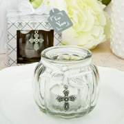 40 Cross themed clear glass round globe candle holder from fashioncraft