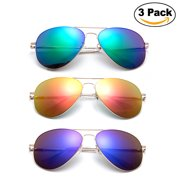 Newbee Fashion - 3 Pack Classic Aviator Sunglasses Flash Full Mirror lenses Slim Frame Super Light Weight for Men Women with Spring Hinge Clear Tip UV Protection