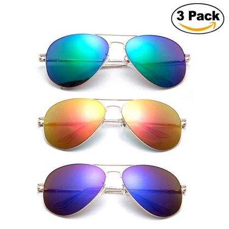Newbee Fashion - 3 Pack Classic Aviator Sunglasses Flash Full Mirror lenses Slim Frame Super Light Weight for Men Women with Spring Hinge Clear Tip UV Protection 13 Sunglasses Gold Frame