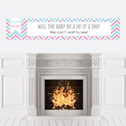 Chevron Gender Reveal - Baby Shower Decorations Party Banner