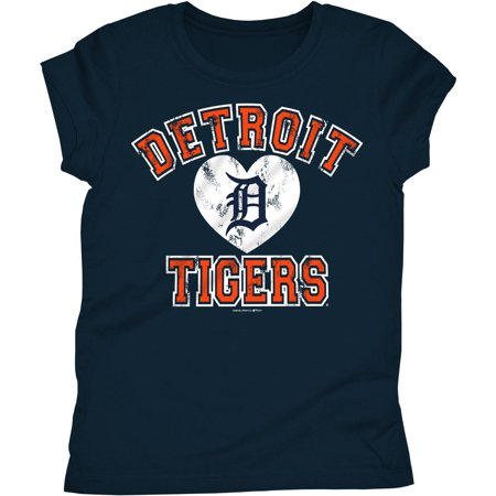 MLB Detroit Tigers Girls Short Sleeve Team Color Graphic -
