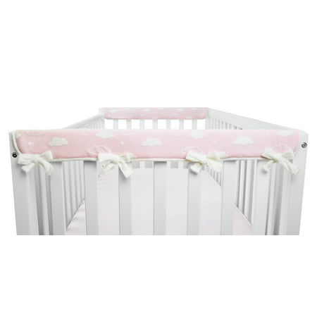 Crib Wrap Rail Guard (American Baby Company 2 Piece Heavenly Soft Chenille Reversible Crib Cover for Side Rails, 3D Cloud/Pink, Narrow for Crib Rails Measuring up to 8
