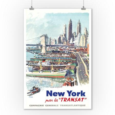 New York - Transat Vintage Poster (artist: Brenet, Albert) France c. 1955 (9x12 Art Print, Wall Decor Travel Poster)