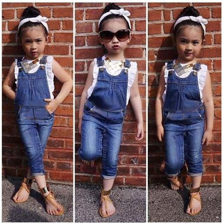 2PC New baby girls Summer Top+ pants Set Clothes T shirt Jeans casual suit