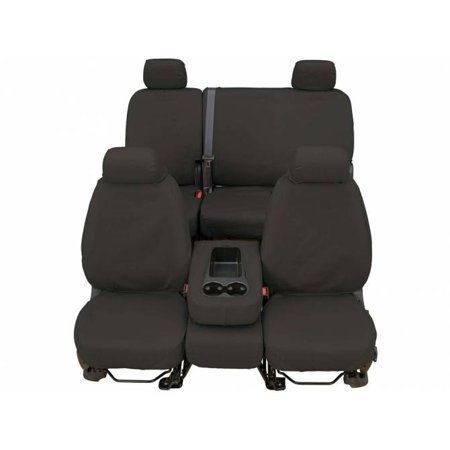 CoverCraft SeatSaver Front Row Grey Polyester (fits) 17-18 Silverado Sierra w/ Split Bench Seat Adjustable Headrests Fold Down Console Cup Holder Lid Seat Airbags
