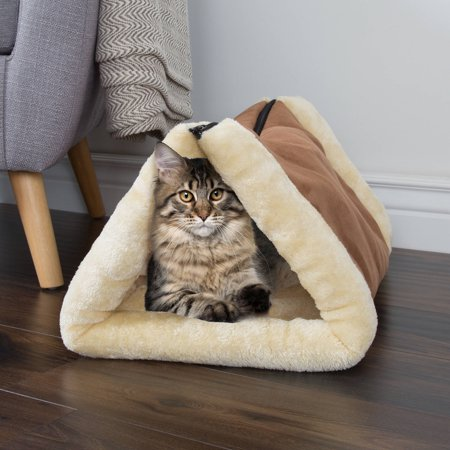 Convertible Kitty Hut by PETMAKER, Thermo-Reflective Plush and Cozy