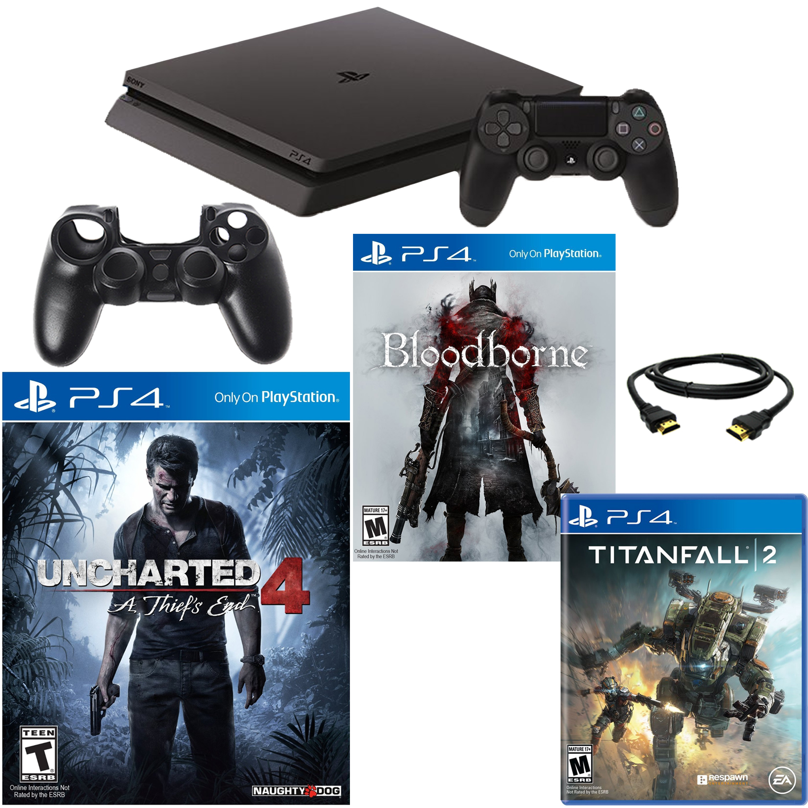 PlayStation 4 Slim 500GB Uncharted 4 Console with Titanfall 2, Bloodborne & Accessories