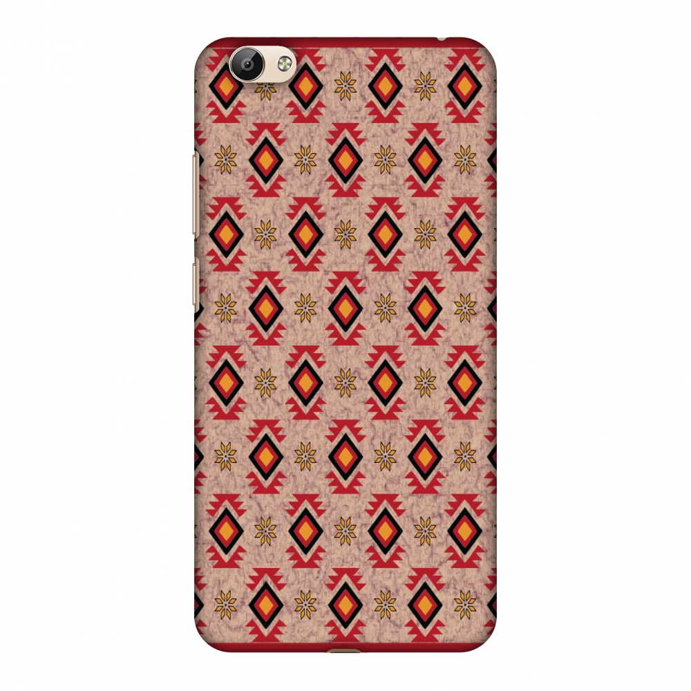 Vivo Y66 Case - Cool tribals- Bright red and sunflower yellow, Hard Plastic Back Cover, Slim Profile Cute Printed Designer Snap on Case with Screen Cleaning Kit