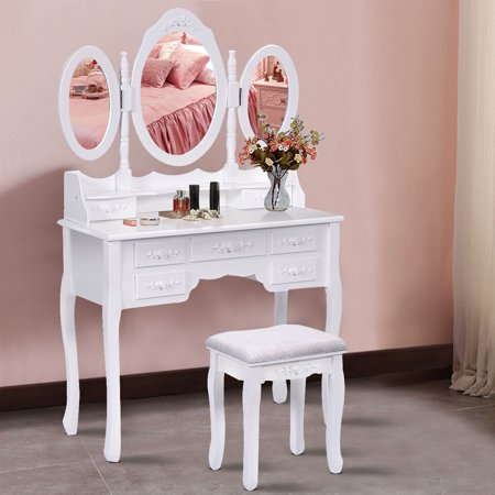 Costway White Tri Folding Oval Mirror Wood Vanity Makeup Table Set with Stool &7 Drawers bathroom](Table With Mirror)