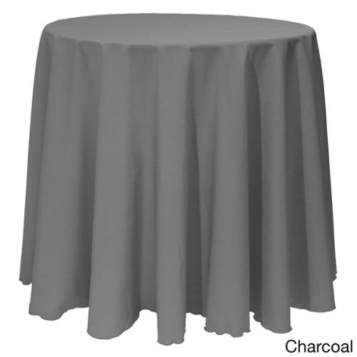 Solid Color 90-inches Round Bright Colorful Tablecloth CHARCOAL