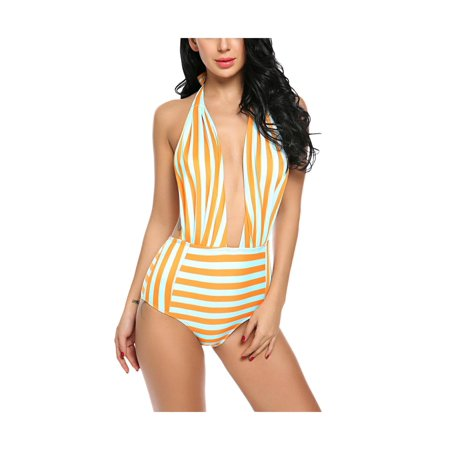 030c710b71a53 CLEARANCE! Womens Retro Striped Cut Out One Piece Bathing Suit Tankini  Swimsuits PAGACAT - Walmart.com