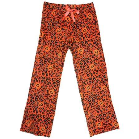 Womens Leopard Animal Halloween Sleep Pants Cheetah & Pumpkin Pajama Bottoms L