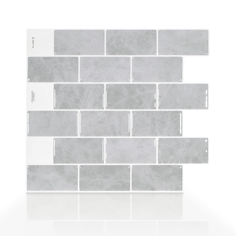 Smart Tiles 10.95 in x 9.70 in Peel and Stick Self-Adhesive Mosaic Backsplash Wall Tile - Subway Fondi (each)