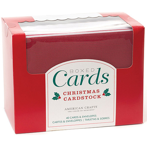 "American Crafts A2 Cards and Envelopes, 4.375"" x 5.75"", 40-Pack, Christmas Solids"