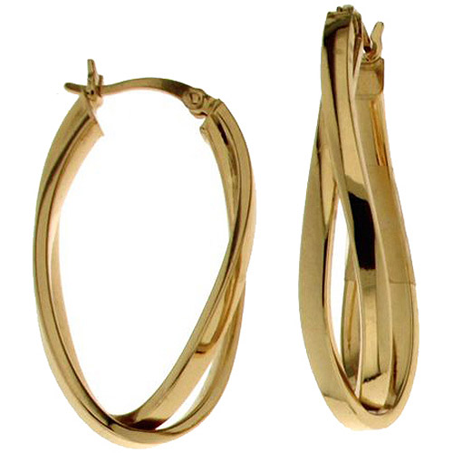 18kt Gold over Sterling Silver Double Oval Hoop Earrings