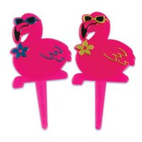 PINK FLAMINGO Tropical Luau Hawaiian Cupcake Cake Topper Picks 12ct*