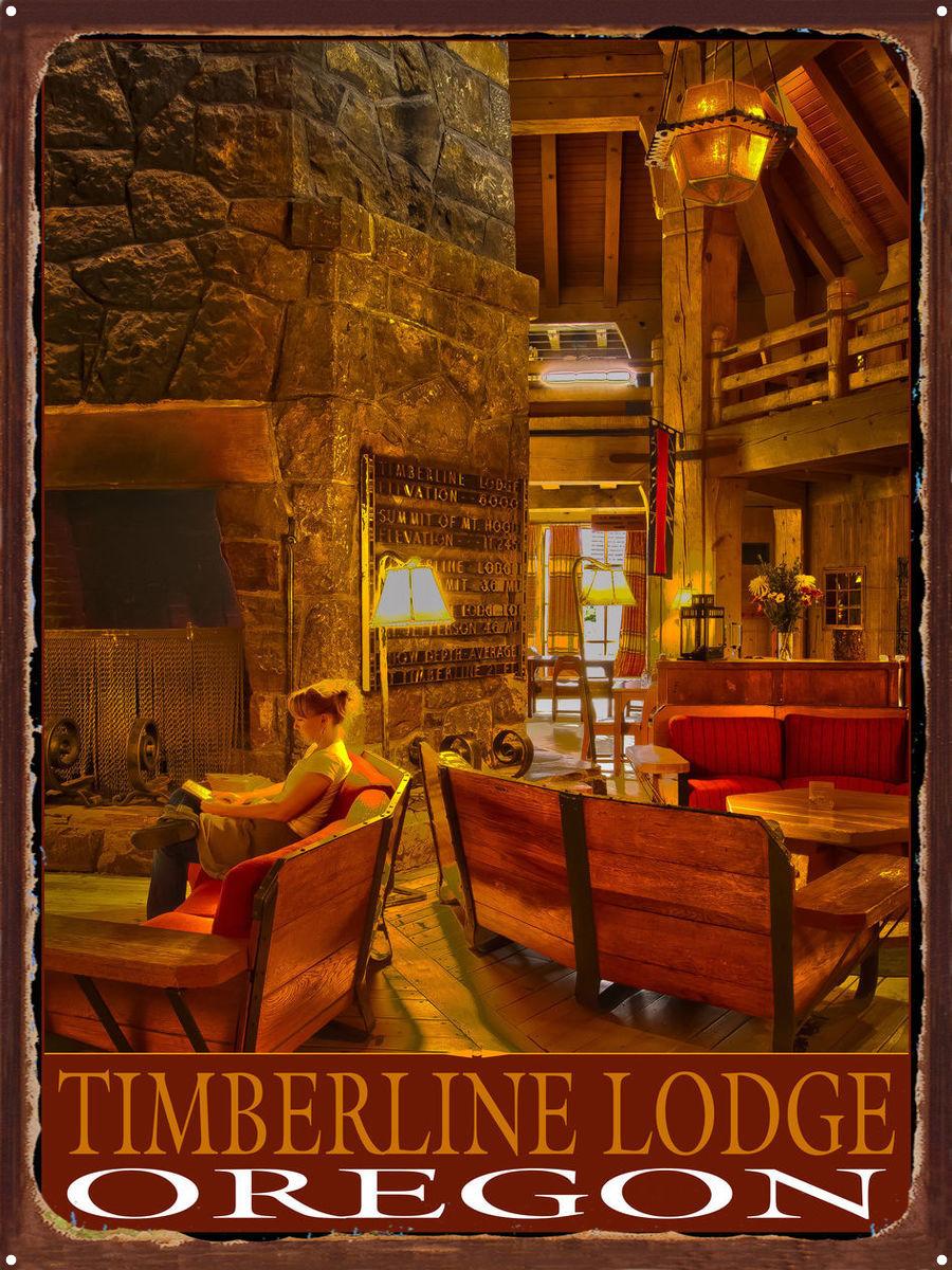 Timberline Lodge Oregon Reader Rustic Metal Art Print By Nicholas Bielemeier 18 X 24 Walmart Com Walmart Com