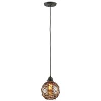 Mini Pendants 1 Light With Shipyard Bronze Finish Hand-Worked Wrought Iron Material Medium 10 inch Long 60 Watts