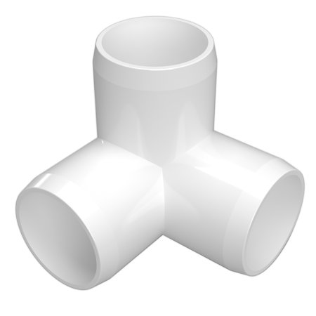 FORMUFIT F1143WE-WH-4 3-Way Elbow PVC Fitting, Furniture Grade, 1-1/4