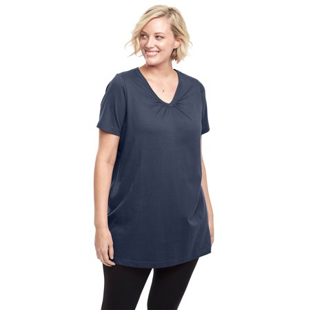 Woman Within Plus Size Perfect Shirred V-neck Tunic ()