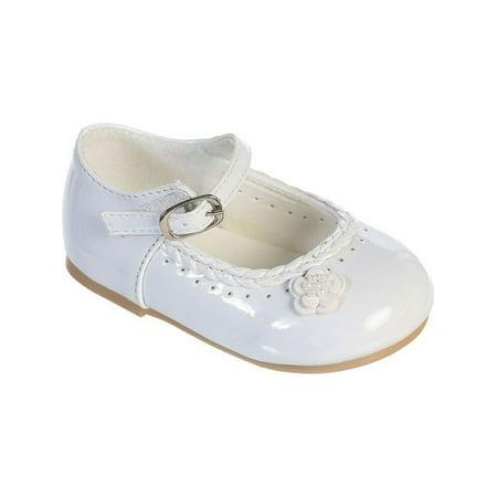 Girls White Braided Edging Flower Patent Leather Mary Jane - Navy Blue Flower Girl Shoes