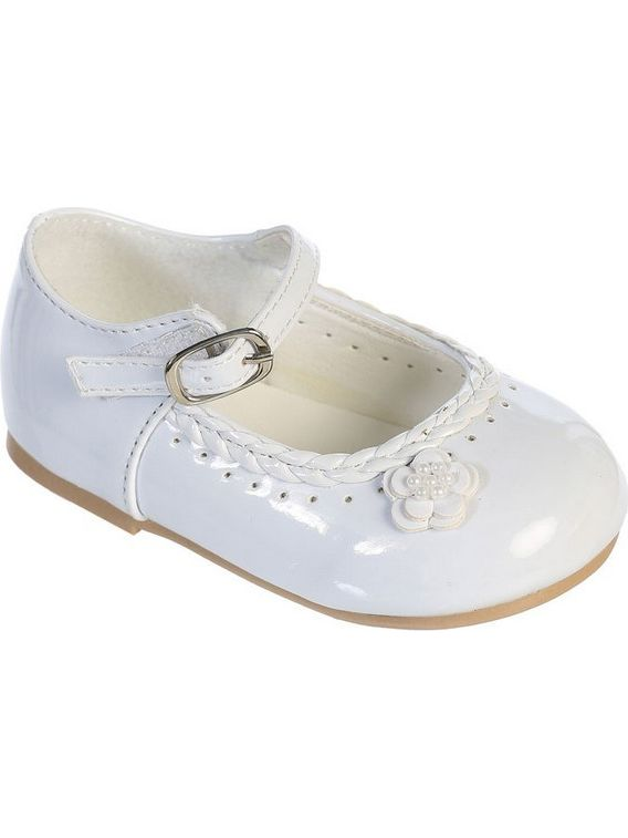 Girls White Braided Edging Flower Patent Leather Mary Jane Shoes