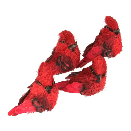 Pack of 4 Red Cardinal Clip-On Bird Christmas Figure Ornaments 3.25