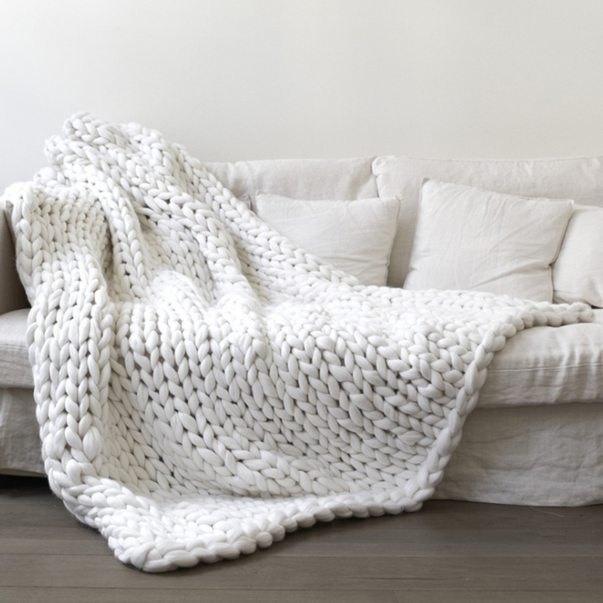 """39.4""""x47""""/39.4""""x31.5"""" Soft Hand-woven Chunky Knit Blanket Warm Hand Chunky Knit Blanket Thick Yarn Bulky Bed Spread Throw 7 Colors"""