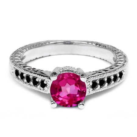1 17 Ct Round Pink Mystic Topaz Black Diamond 925 Silver Engagement Ring