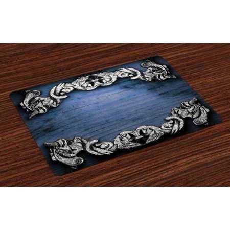 Victorian Placemats Set of 4 Iron Ornament on Wooden Great Britain Gothic Revival Artwork Peace Print, Washable Fabric Place Mats for Dining Room Kitchen Table Decor,Silver Dark Blue, by Ambesonne ()