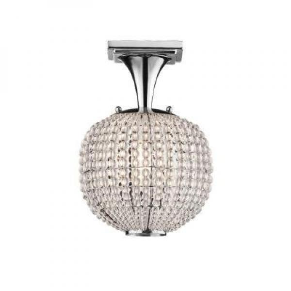 Hampton Bay Bellefont 1-Light Polished Nickel Crystal Ball Semi-Flush Mount by