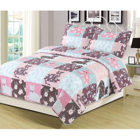 Twin Quilt Floral Patchwork Cats Bedspread Bedding 2 Piece Set Pink Blue Purple
