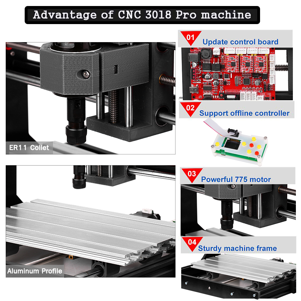 VEVOR Upgrade CNC 3018 Pro GRBL Control CNC Machine 3 Axis Wood Router Engraver with Offline Controller XYZ Working Area 300 x 180 x 45mm