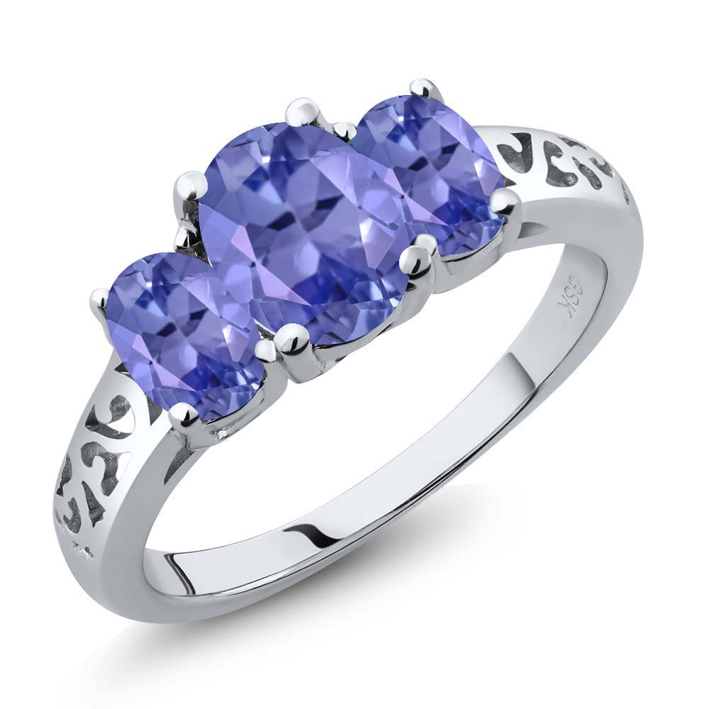 2.45 Ct Genuine Oval Blue Tanzanite Gemstone 925 Sterling Silver Ring by
