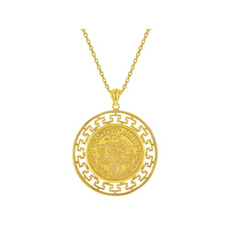 18k Medal (18k Gold Plated St Benedict Medal Catholic Protection Pendant Necklace 19