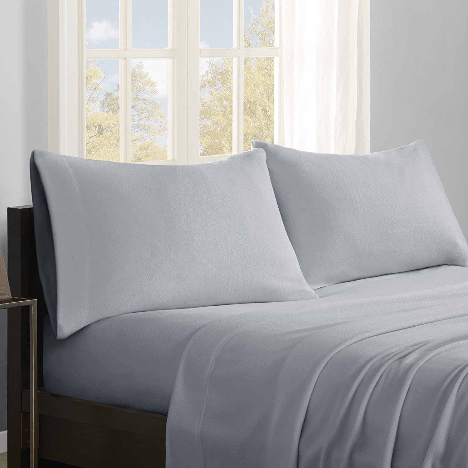 Micro Fleece Sheet Set, King, Grey, Set includes: 1 flat sheet, 1 fitted sheet, 2 pillowcases By True North by Sleep Philosophy
