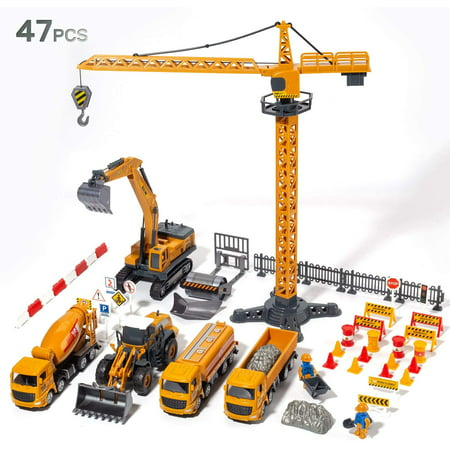 Toys Car Construction Vehicles Toys Set, Kids Engineering Playset of Trucks, Excavator, Crane, Dump Truck, Forklift, Bulldozer Set Gift for Toddlers Boys Children