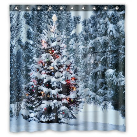 PHFZK Landscape Nature Scenery Shower Curtain, Snow Covered Christmas Tree in Winter Polyester Fabric Bathroom Shower Curtain 66x72 inches ()