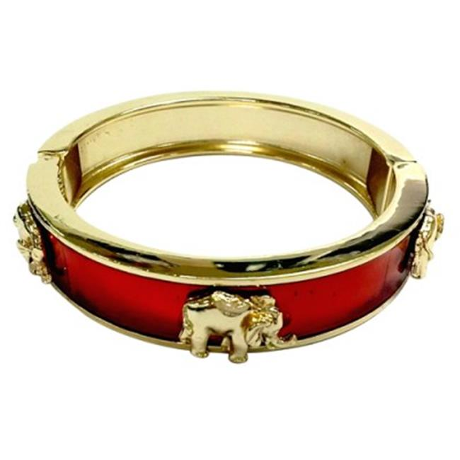 C Jewelry Gold And Brown Hinged Bracelet With Gold Elephants