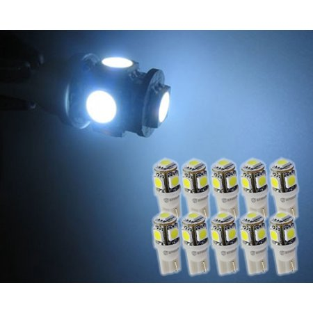 Zone Tech 10x 194 168 2825 5-smd White High Power SUPER BRIGHT LED Car Lights Bulb
