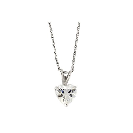 14k Yellow or White Gold 14k 5mm Cubic Zirconia Heart Solitaire Pendant Necklace - 13 15 16 18 20 22